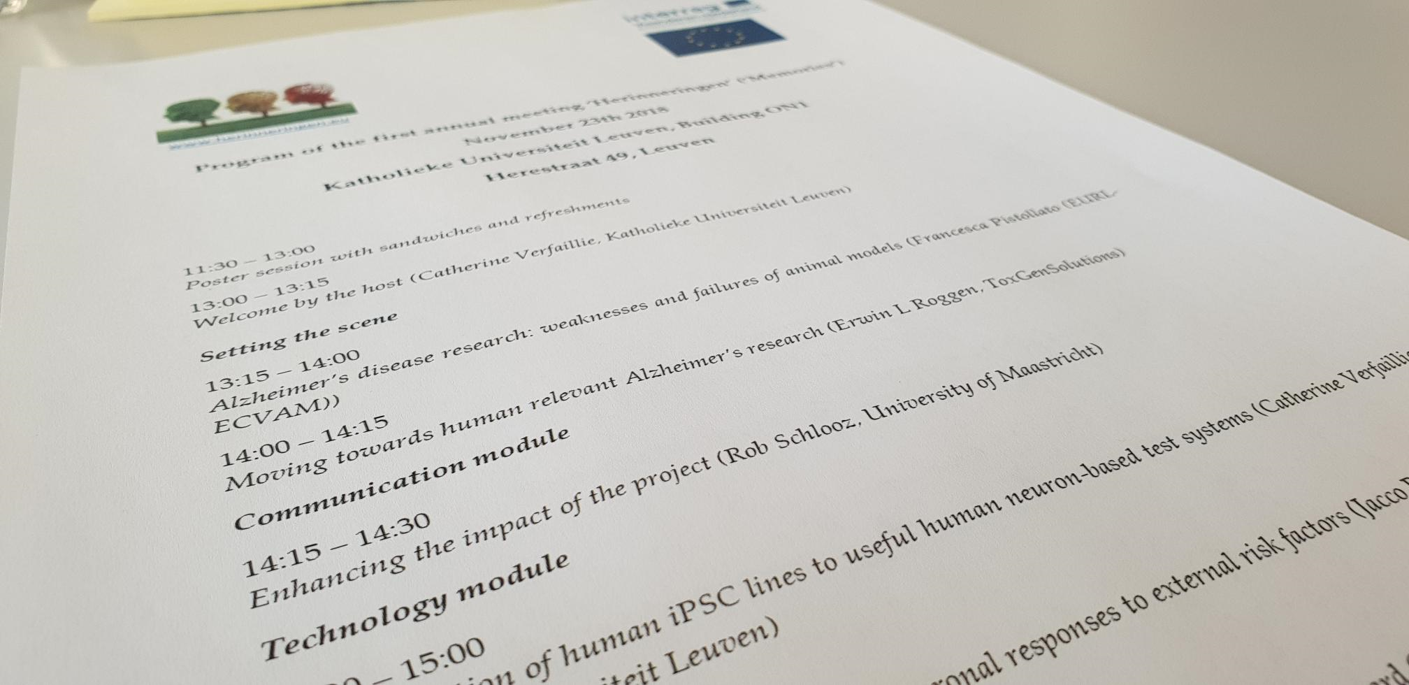 THE INTERREG. PROJECT HERINNERINGEN ('MEMORIES') 2018 SYMPOSIUM ON EARLY BIOMARKERS FOR SPORADIC ALZHEIMERS